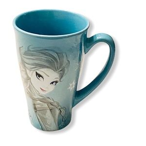 Blue Elsa Mug Snowflakes NWOT Teal Blue
